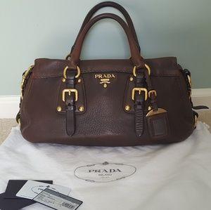 Prada Bauletto Bruciato Cervo Leather Handbag